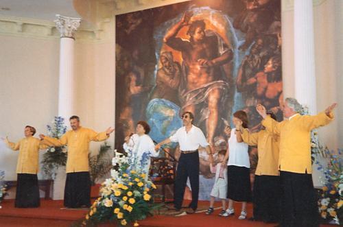 Domenica 21 giugno 1998: Inaugurazione della chiesa a Poggiana di Riese Pio X (TV). Il carissimo amico Marco Columbro ha voluto esserci.